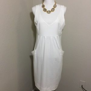 New York & Company Summer White Sleeveless Dress